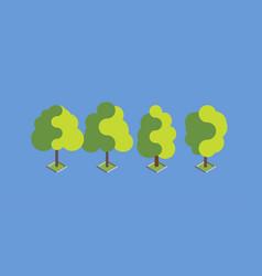 flat green isometric tree set design vector image