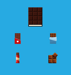 flat icon bitter set of bitter cocoa dessert and vector image