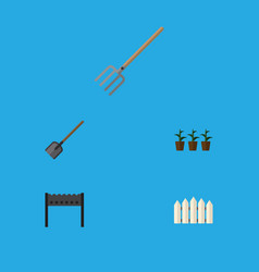Flat icon dacha set of hay fork shovel flowerpot vector