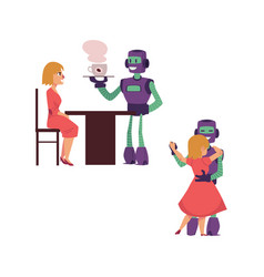 Flat robots people interaction scenes set vector