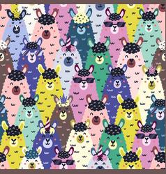 funny llamas colorful seamless pattern childish vector image