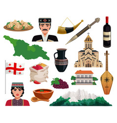 Georgia tourism flat set vector