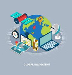global navigation isometric vector image
