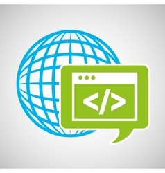 Globe development technology code icon vector