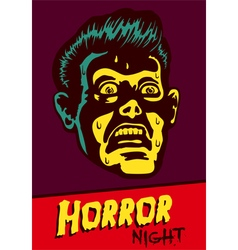 Halloween party horror movie night flyer design vector image