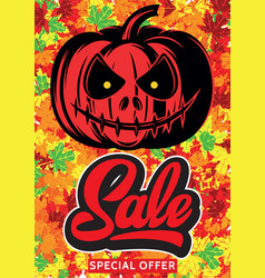 halloween sale banners background with pumpkin vector image