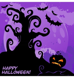 Halloween tree card lilac vector