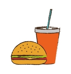 Hamburger and soda drink icon vector