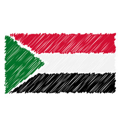 hand drawn national flag of sudan isolated on a vector image
