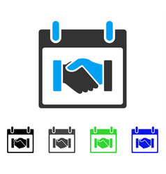 Handshake calendar day flat icon vector
