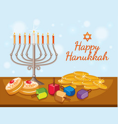 Happy hanukkah card template with candles and vector