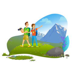 Hikers couple with backpacks and photo camera vector