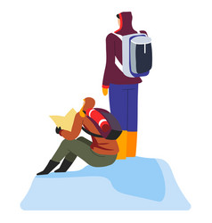 Hikers with backpacks and hiking gear reading road vector