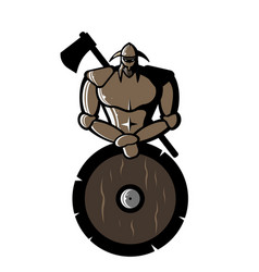 Image of bronze viking with shield and ax vector