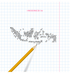 Indonesia sketch scribble map drawn on checkered vector