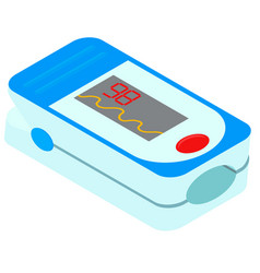 Isometric pulse oximeter isolated on white vector