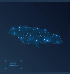 Jamaica map with cities luminous dots - neon vector