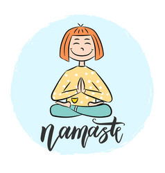 kid yoga background with lettering namaste vector image