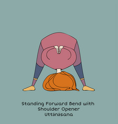 Kid yoga pose standing forward bend vector