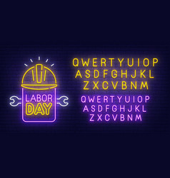 labor day neon sign bright signboard vector image