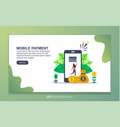 landing page template mobile payment modern vector image