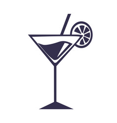 martini cocktail with straw orange slice vector image