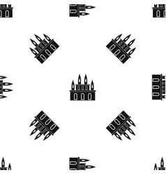 Medieval castle pattern seamless black vector