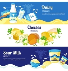 Milk And Cheese Horizontal Banners vector image