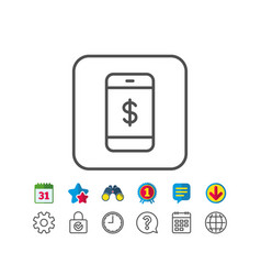 Mobile shopping line icon online buying vector