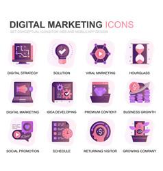 modern set marketing gradient flat icons vector image