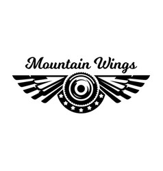 monochrome logo wheel and wings mountain biking vector image
