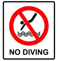 No diving sign prohibition symbol in red vector