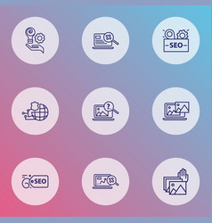 Optimization icons line style set with seo tag vector