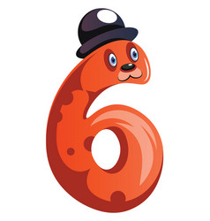 orange monster with a hat and number six shape on vector image