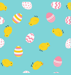 Painted easter egg and chicken cite seamless vector