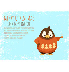 penguin in sweater with coffee cup greeting card vector image