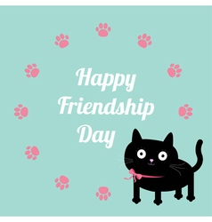 Pink cat paws Happy friendship day Flat vector