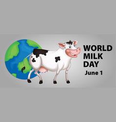 Poster design for world milk day vector