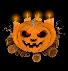 Pumpkin at night vector