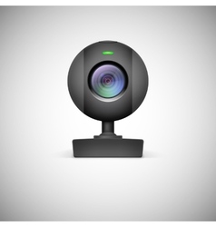 Realistic white webcam icon vector