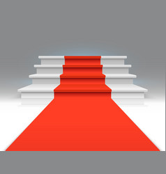 Red carpet on white walking stairs success vector
