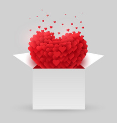 red heart in an open box valentine day vector image