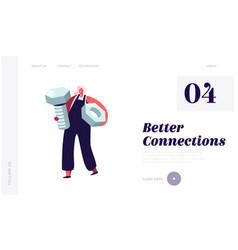 repair service female call master website landing vector image