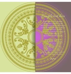 Round oriental ornament card in vintage style vector