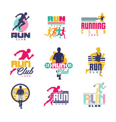 Running club logo templates set emblems for sport vector