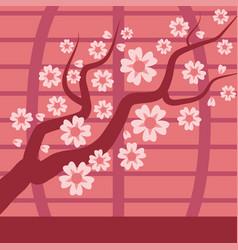 sakura japan cherry branch tree with vector image vector image