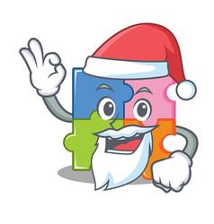 Santa puzzle mascot cartoon style vector