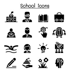 school education learning icon set vector image