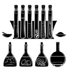 Science lab equipment black silhouettes vector