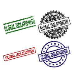 scratched textured global isolationism stamp seals vector image